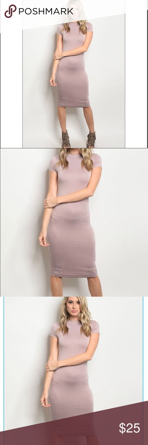 Mochca bodycon dress **Boutique item  Very sexy beautiful dress for an everyday look or for Valentine's Day!  Short sleeve fitted double lined bodycon dress that features a mock neckline Dresses Midi