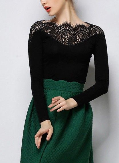 Feeling sleek and unique in this beautiful lace collar t-shirt.