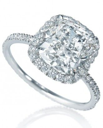 """See the """"Micropave Cushion-Cut Diamond Engagement Ring from Harry Winston"""" in our Cushion-Cut Diamond Engagement Rings gallery"""