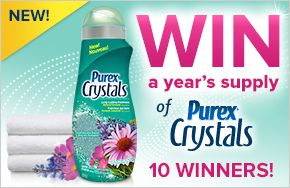 Enter to WIN a year supply of Purex Crystals Mountain Breeze laundry enhancer -- 10 WINNERS!