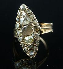 Victorian marquise rosa anello di diamante taglio ORO 18ct