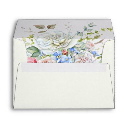 Watercolor Flower Bouquet Ivory Blue Any Color Envelope - elegant wedding gifts diy accessories ideas