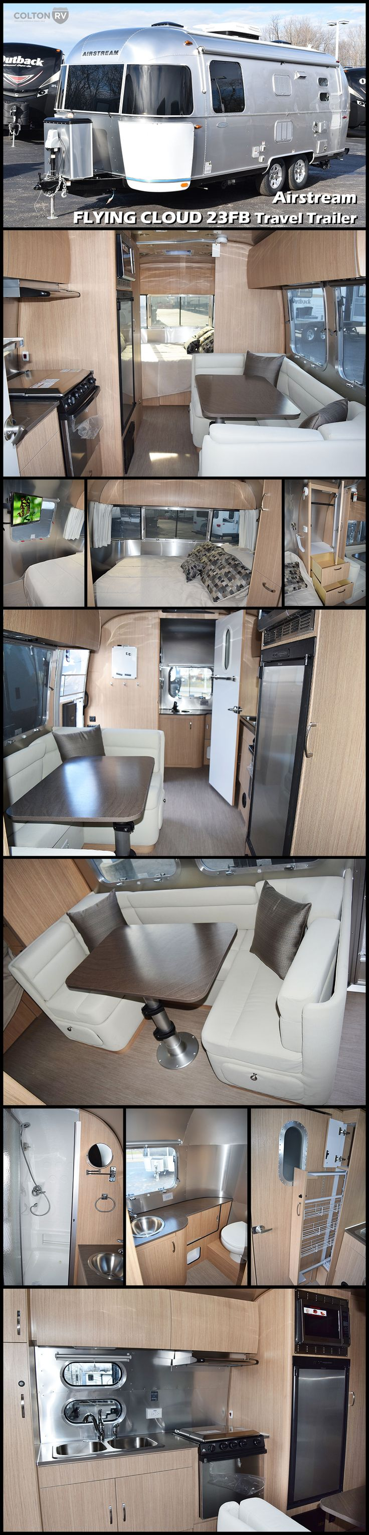"Check out this new 2017 Airstream FLYING CLOUD 23FB Travel Trailer. Practical and efficient, the Flying Cloud invites you inside with the flair of modern design. Compared to its ""box-shaped"" competitors, it'll last longer, require less maintenance, offer better stability when towing, and cost less at the fuel pump."