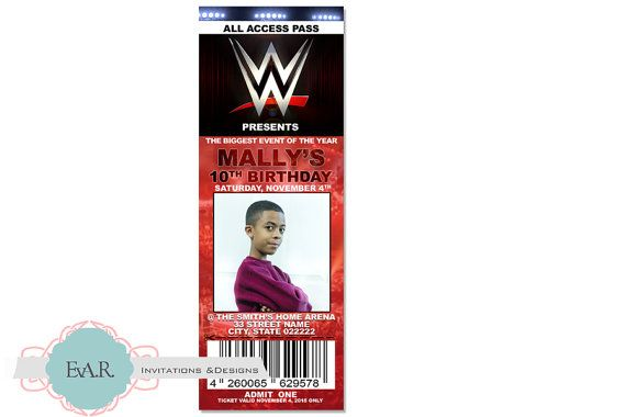 Hey, I found this really awesome Etsy listing at https://www.etsy.com/listing/254918313/wwe-ticket-birthday-invitation-wwe