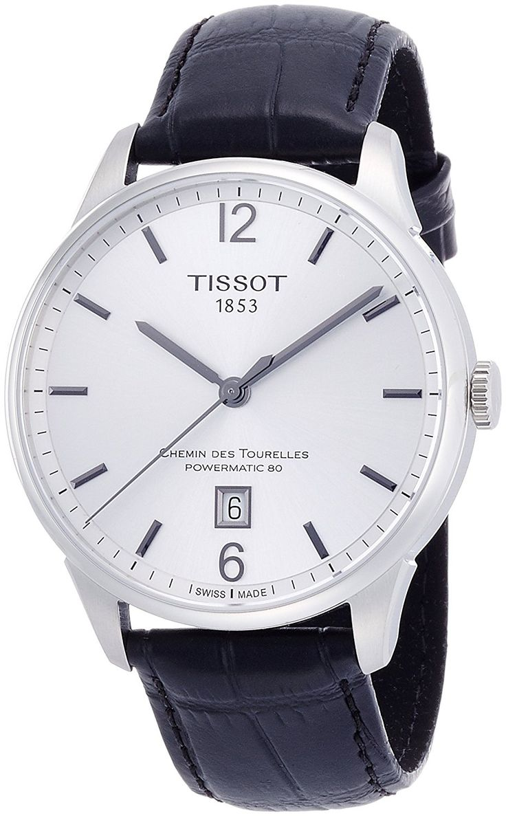 Amazon.com: Tissot Men's 'Chemin Des Tourelles' Swiss Automatic Stainless Steel and Leather Casual Watch, Color:Black (Model: T0994071603700): Watches