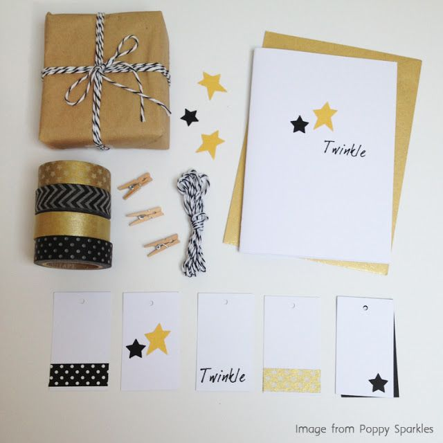 Handmade Christmas Twinkle Star Cards and Gift wrap. Punched stars, bespoke twinkle stamp, washi tape and twine in a lovely gold and black colour scheme. #christmas