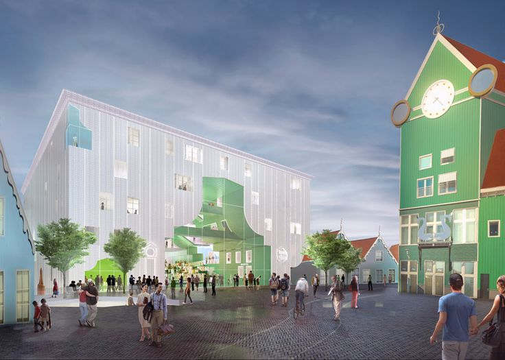 Dutch architecture firm MVRDV has won a competition to design the Cultural Cluster in the heart of the city of Zaanstad, with a proposal to group multiple institutions inside one building – each with their own house-shaped presence on the facade.