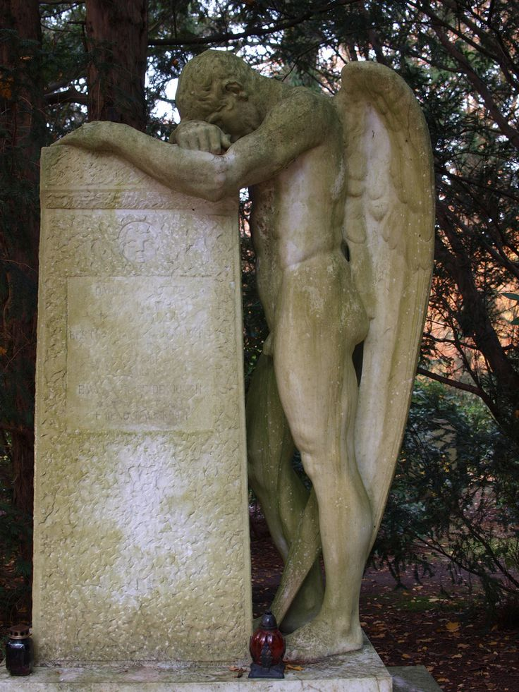 male angel in grief  Discovered in Hamburg, Germany, Friedhof Ohlsdorf, the largest park cemetery of the world