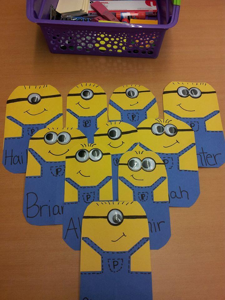 Classroom Decoration For Valentines ~ Minion name tags meyhem pinterest desks