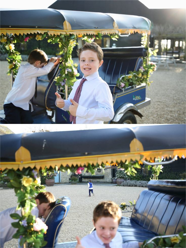 kids and tuk tuk at south farm wedding