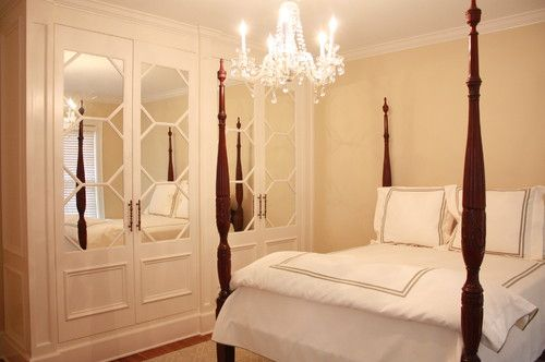 How to Glamorize a Reach In Closet - decorate closet doors by adding mirror and molding