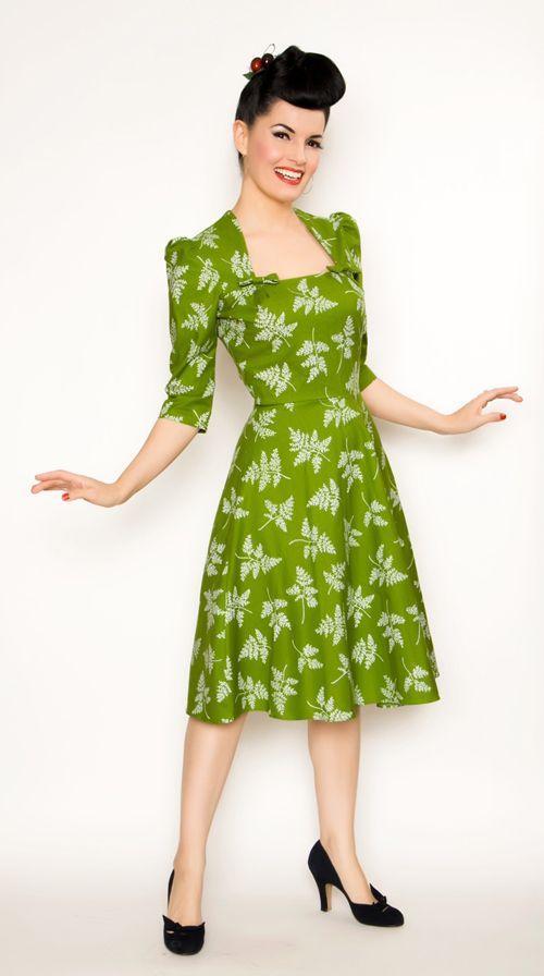 Rockabilly Girl - Green Fern Print Lana Dress. I love this!!!! So WWII!