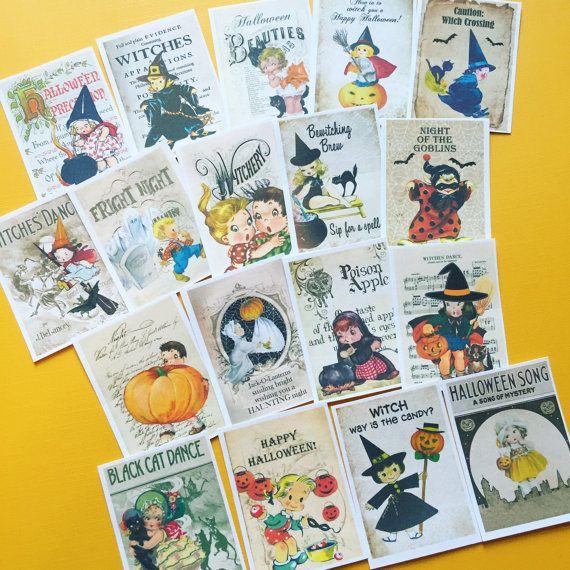 Halloween Stickers  Set of 18  Handmade Stickers Vintage