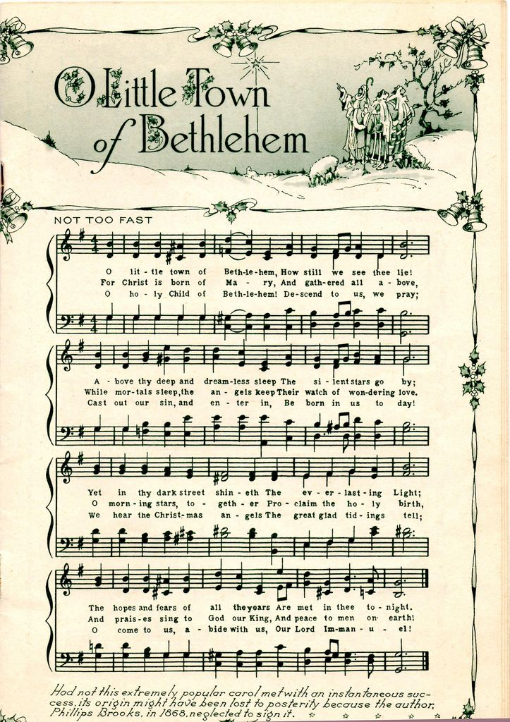 Christmas song printouts O Little Town of Bethlehem. Who wants to go Christmas caroling?!