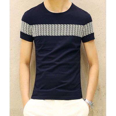 Laconic Round Neck Geometric Print Slimming Solid Color Short Sleeves Men's T-Shirt-17.75 and Free Shipping| GearBest.com