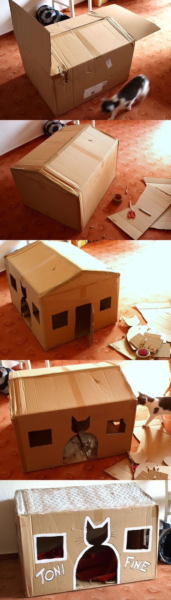 DIY cardboard cathouse-- only change I think I'd make is a sturdy, flat roof with a cat bed on top, so one of my girls can keep an eye on the other one AND me at the same time! LOL