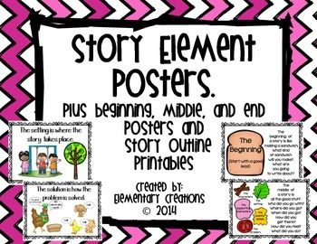 Story Element Posters!  These are grey poster to have when teaching what a character, setting, problem and solution is.  I have also included poster to help students understand what a beginning, middle and end to a story looks like.
