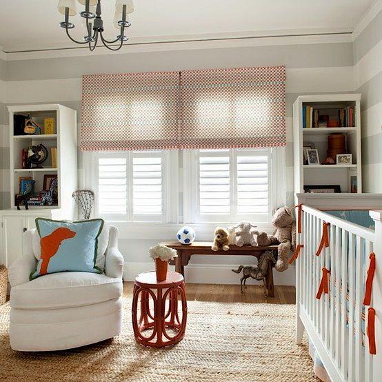 plantation shutters on nursery window for baby room ideas