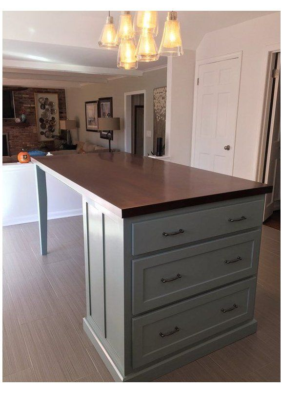 Kitchen Island With Seating And Tapered Legs Drawer Slides 24 Inch Full Extensi In 2020 Kitchen Island Cabinets Kitchen Island With Seating Modern Kitchen Design