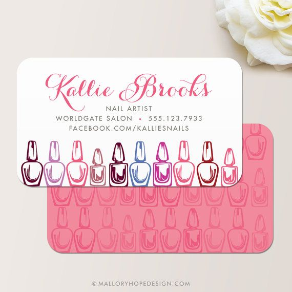 Nail Technician, Manicurist, or Nail Salon Business Card / Calling Card / Mommy Card - CUSTOMIZE Colors and Content