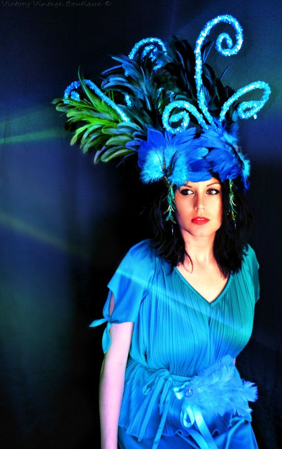Blue feather Headdress Showgirl by bwilkerson74 on Etsy, $195.00