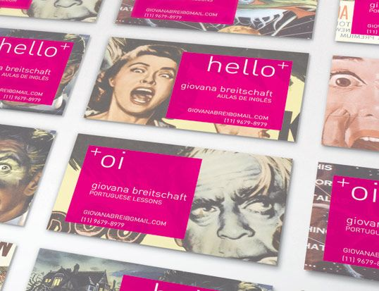 We created these business cards for Giovana Breitschaft who is a portuguese/english teacher. The concept behind the design is that some people are frightened of speaking another language, Giovana will help you get past this fear