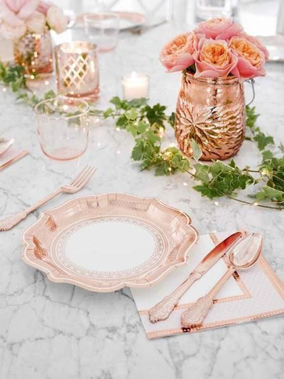 Wedding Decor In 2020 Rose Gold Silverware Rose Gold Party Supplies Rose Gold Paper