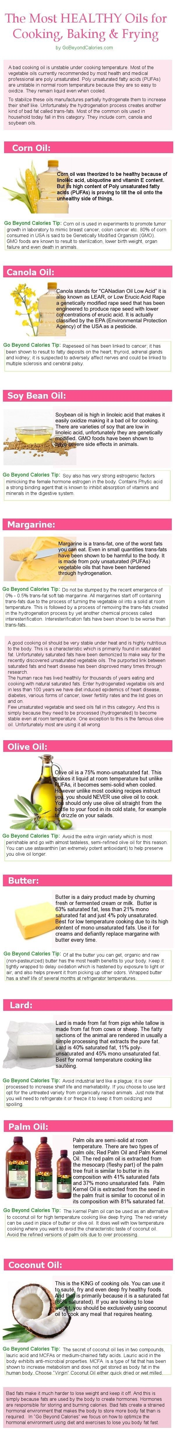 The most healthy oils for cooking baking healthy food healthy living healthy food facts cooking