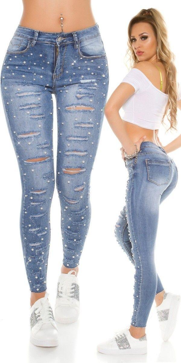 Dámské trhané džíny s perličkami