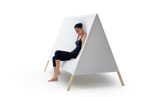 Tent structure hides a bed, elastic side panels allow comfy sofa seating. Wonderful idea for kids room!