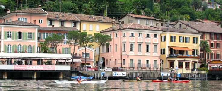 Colourful houses and cafes on the shores of Lake Lugano.