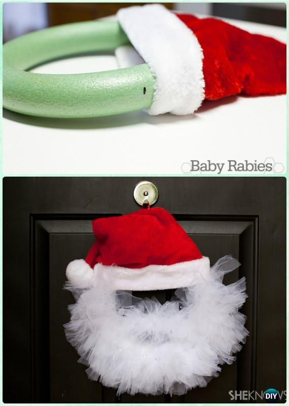 DIY Santa Tulle Wreath Instructions- #Christmas #Wreath Craft Ideas Holiday Decoration