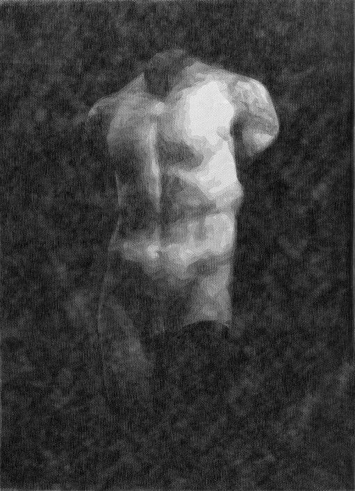 Giorgio Tentolini Torso maschile (Pagan Poetry) 2013 16 strati di tulle nero intagliata cm. 58 x 42