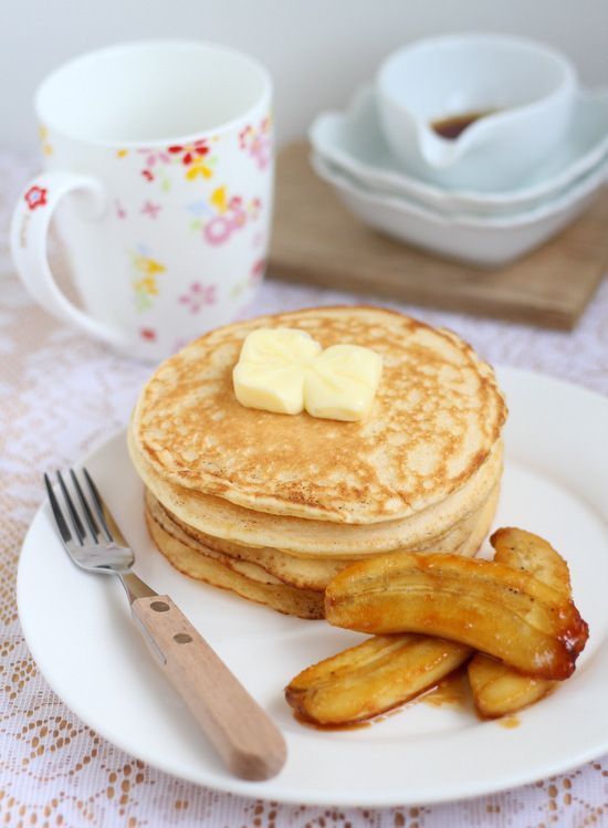 Gordon Ramsay's scotch pancakes with caramelised bananas.