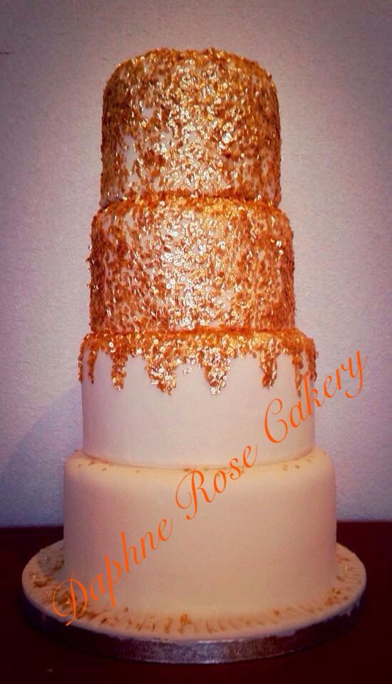 #sequin #gold #4tier #weddingcake email enquiry drcakery@gmail.com