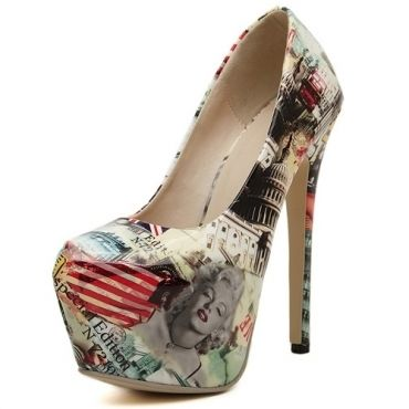 Celebrity Fashion Round Closed Toe Beauty Print Platform Stiletto Super High Heel PU Basic Pumps, $50.48