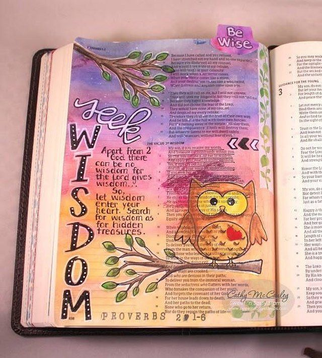 Hello Bible journaling friends!  Did you know that Sweet 'n Sassy Stamps has a Creative Worship Bible Journaling Group on Facebook for those interested in learning more about Bible Journaling and sharing their pages tips and techniques?  Each Friday Rebecca Rios will be posting a Bible Journaling Challenge for for anyone who wishes to participate.  The challenge this past week was to complete a page in Proverbs. This is mine (Cathy's). Come join in the fun! http://ift.tt/1O6AAgp…