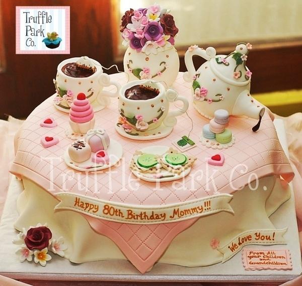 Tea Party-Themed birthday Cake