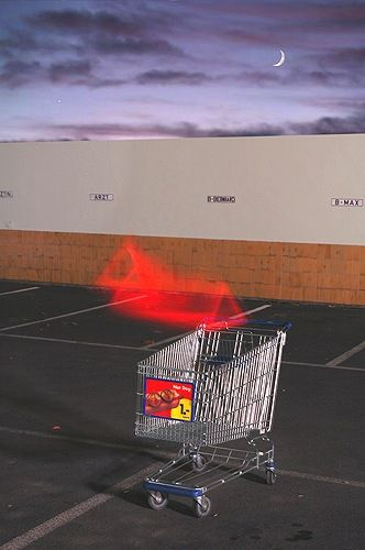 """SFX photography, digital collage.  - James Seehafer had begun his work by using a shopping cart, which """"represented American mass-consumerism that fuels mass-media"""", and then incorporated collages of colour photocopies and spray paint with the artist's traditional medium of oil paint."""
