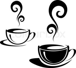 The two cups of coffee with spiral steam Black and white image Illustration can be used to design menu restaurant or cafe