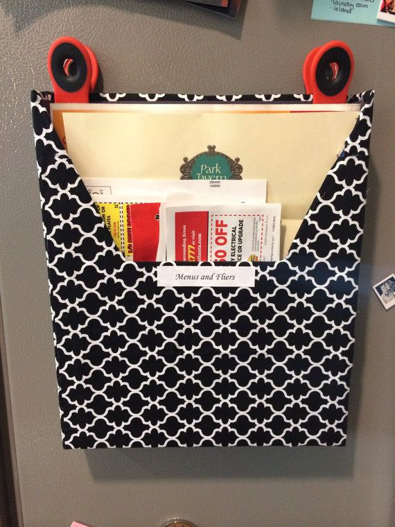 Magnetic Take Out Menus and Fliers Holder--great for quick reference and can stay on the fridge! They'll do any fabric you want! $7.00