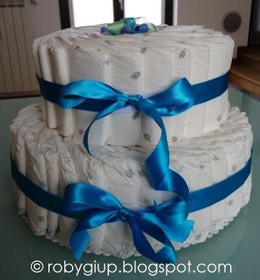 Torta di pannolini per la nascita del mio nipotino! - Diaper cake for the birth of my nephiew!