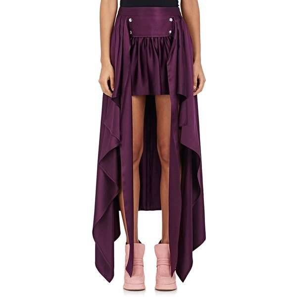 Sies Marjan Women's Megan Silk Satin Skirt ($1,495) ❤ liked on Polyvore featuring skirts, purple, hi lo skirt, high low skirt, mullet skirt, short front long back skirt and hi low skirt