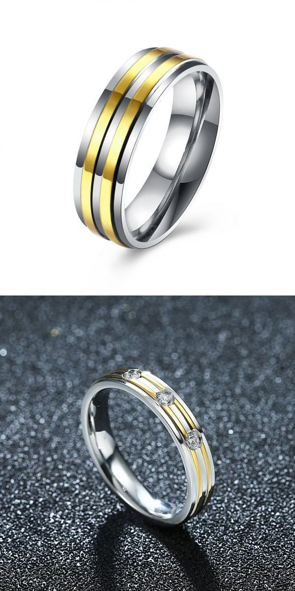 Rings 3 Times Then Beeps Gold Stripe Simple Zircon Stainless Steel Ring Women Men Gift Wedding