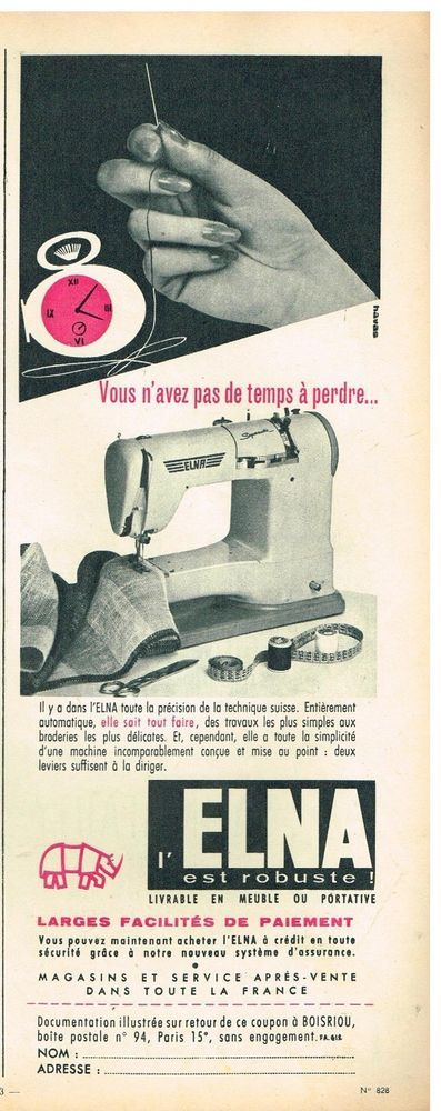 Publicité Advertising 1961 La Machine à coudre Elna