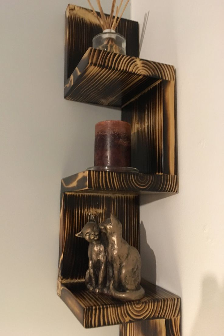 Corner shelf / Burnt wood / Concealed fixings included / FREE UK SHIPPING by OmniaRedivivusLtd on Etsy