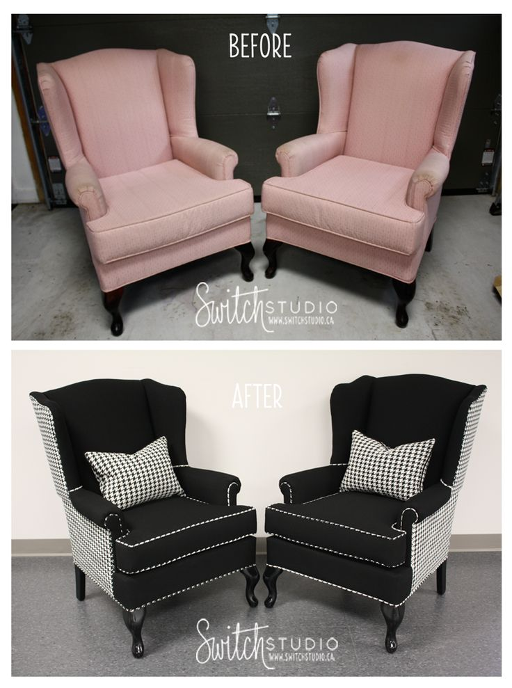Wing backs - love this reupholstered black and white!