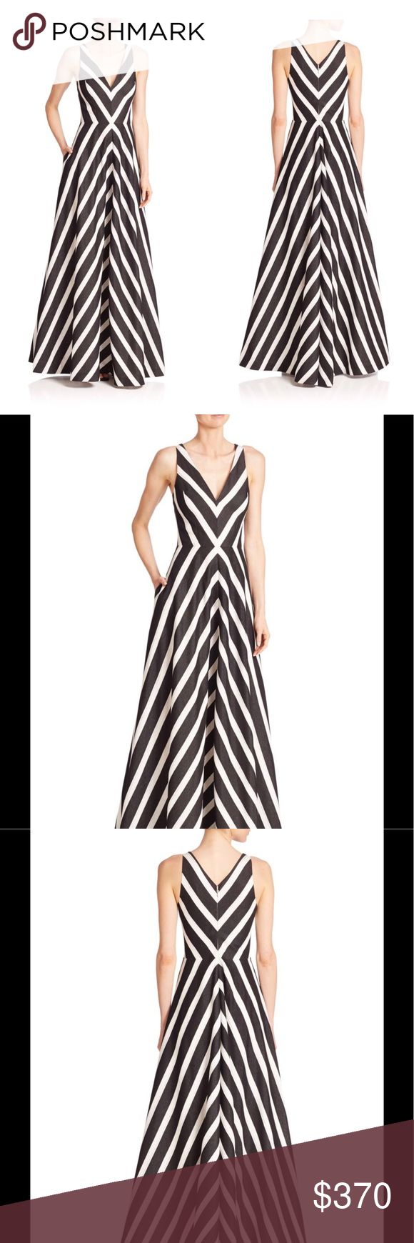Halston Heritage Sleeveless Striped Vneck BallGown Halston Heritage ball gown in mitered stripes. V neckline and back. Sleeveless; tapered straps. Full A-line silhouette. Hem hits floor. Rayon/nylon/polyester/metallic. Lining: polyester. Dry clean. Imported. Halston Heritage Dresses Maxi