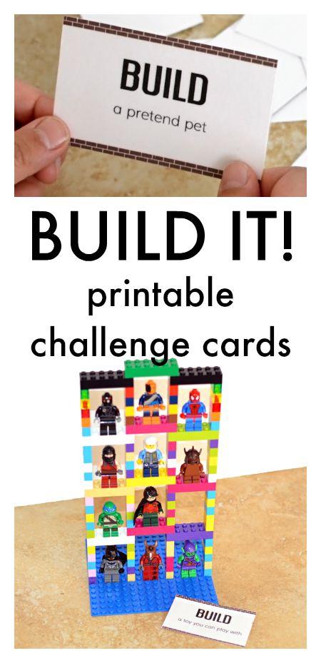 Block build challenge cards printable, ideas for block play, printables for block center