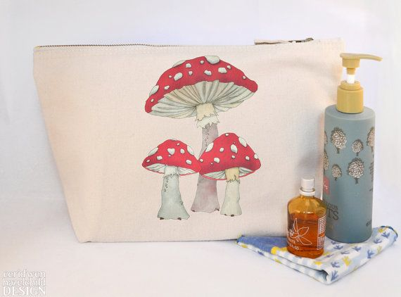 Toadstool Mushrooms Canvas Wash Bag Large Zipper Pouch Makeup Bag Toiletry Bag Accessory Bag by ceridwenDESIGN http://ift.tt/28M7hiP